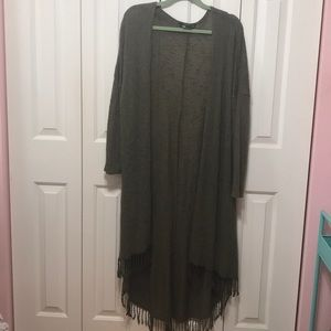 Sweaters - Long Open Plus Size Fringe Cardigan